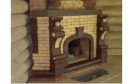 Печь из белого и тёмно-коричневого кирпича
